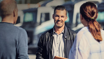 Man optimizing his business with Volvo Trucks