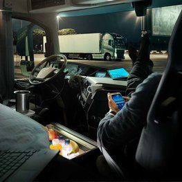 View from inside a Volvo Truck cab