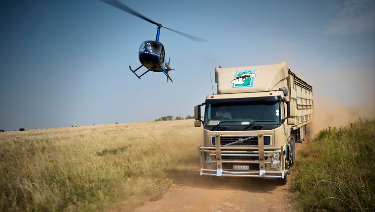 Helicopter and truck.
