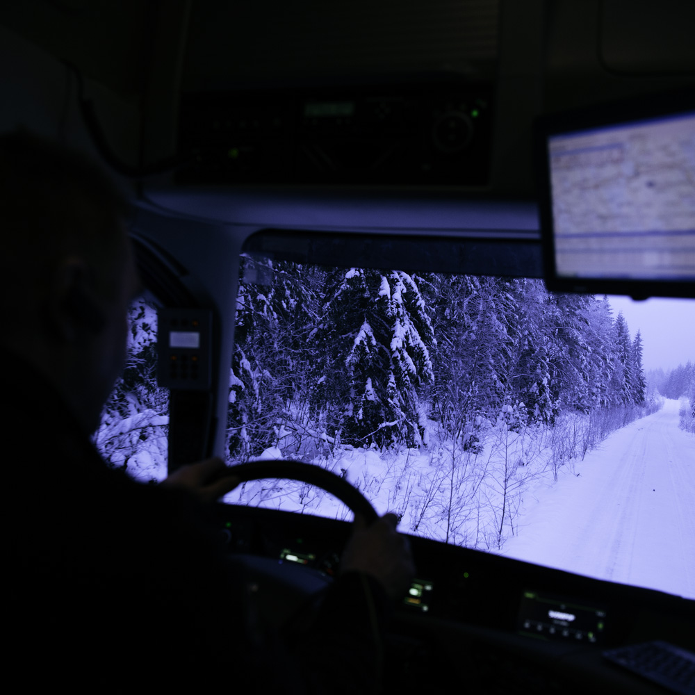 Volvo FH16 driving on an icy road.