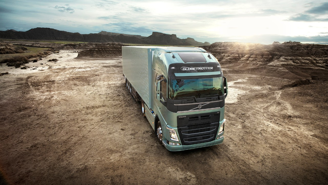 Volvo FH standing still in dry landscape
